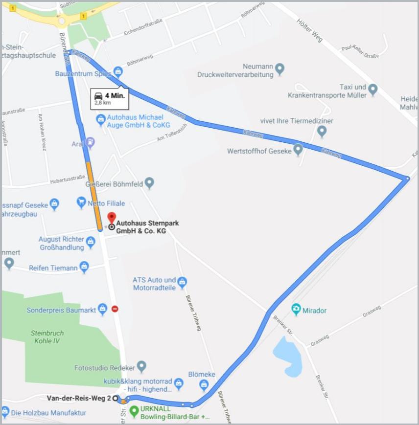 Umleitung ab Kreisverkehr Van-der-Reis-Weg